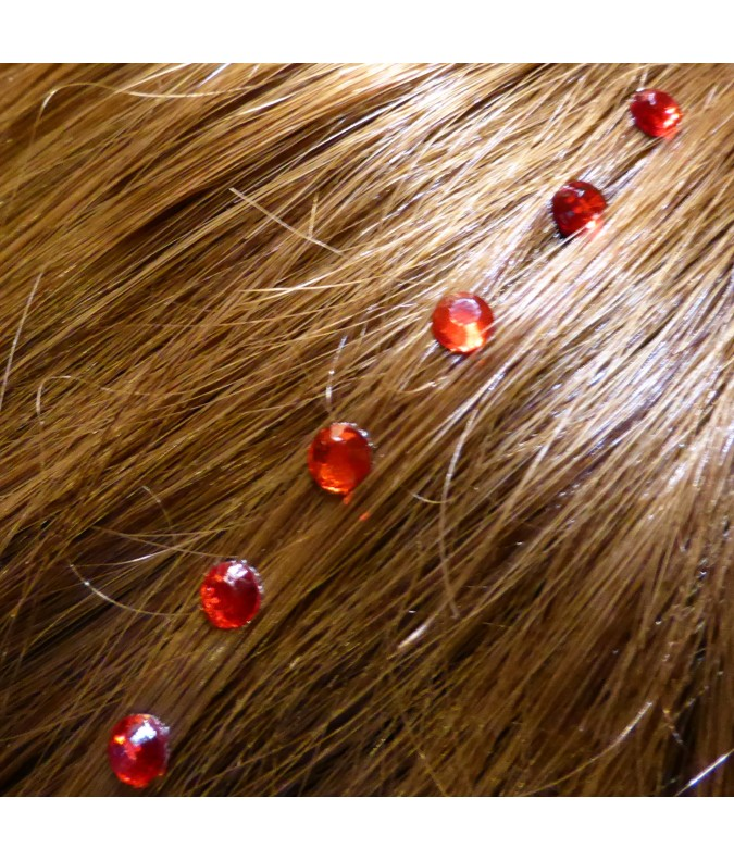 Strass cheveux rouge ruby