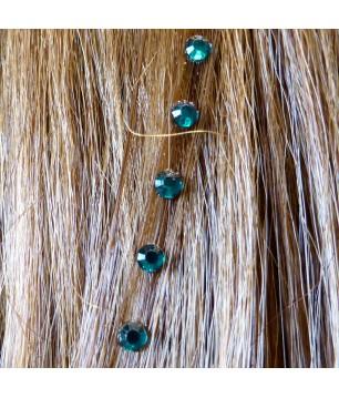 Strass cheveux bleu canard