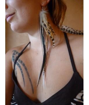 Paire de boucle d'oreille argent 925 EXTRA longues plumes naturelles et attache argent