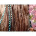 LIQUIDATION 3 Plumes rayées turquoises 30-35cm fines