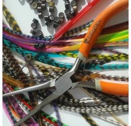kit plumes complet pour coiffeurs: 20 L, 20 XL, 20 plumes de frange, outils et fixations