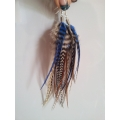 Medium Earrings with Natural Feathers and Silver Hook