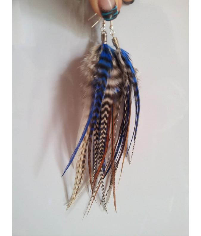 Paire de boucle d'oreille médium plumes naturelles et attache argent
