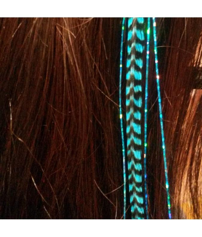 Plume rayée turquoise et cheveux d'anges brillants