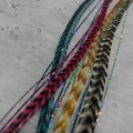 lot 10 Plumes rayées et cheveux d'anges brillants mix couleur