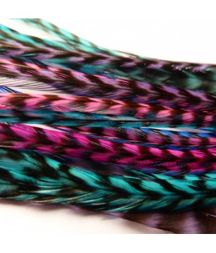 Batch of 20 Feathers (20 to 24cm) teal pink blue purple