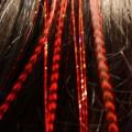 Plume rayée rouge et cheveux d'anges brillants